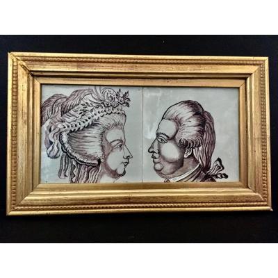 2 Carreaux en Faïence Représentant Marie Antoinette et Louis XVI Fin XVIII ème ou Début XIX ème