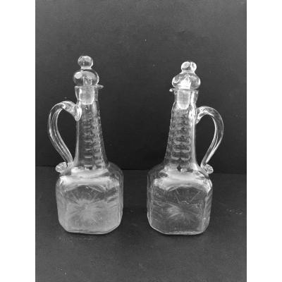 Pair Of Flasks In Blown Glass XVIII Century