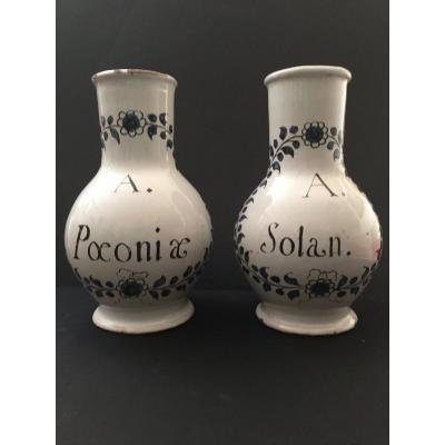 Pair Of Bottles Pharmaceutical Rouen 18th Century