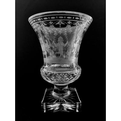 Medici Vase In Crystallized Glass Engraved 19th Century