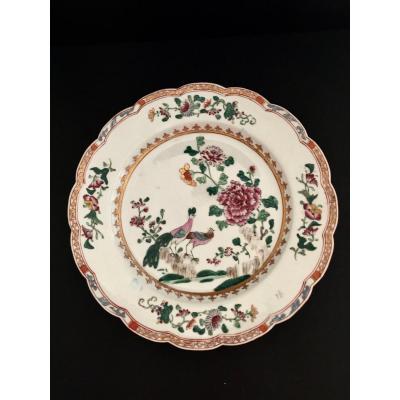 Assiette En Porcelaine Cie Des Indes Par Sanson 19 ème Siècle