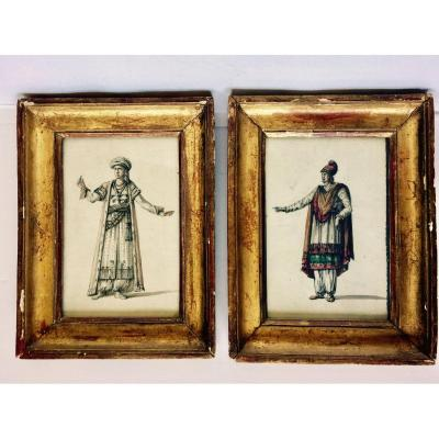 Pair Of Watercolor Drawings Attributed Lf Cassas XVIII Century