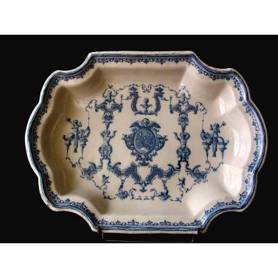 Large Basin Earthenware Moustiers 18th Century