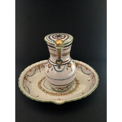 Basin And Its Ewer In Earthenware From Moustiers 18th Century