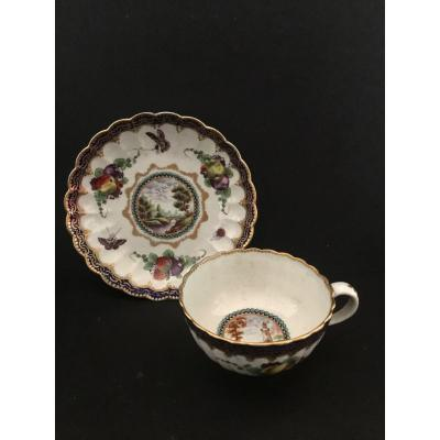 Mug And Sa Cup In Porcelain Tender From Worcester England 18th Century