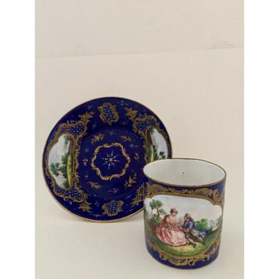 Cup And Her Sub. Enamelled Cup From Battersea England Circa 1760