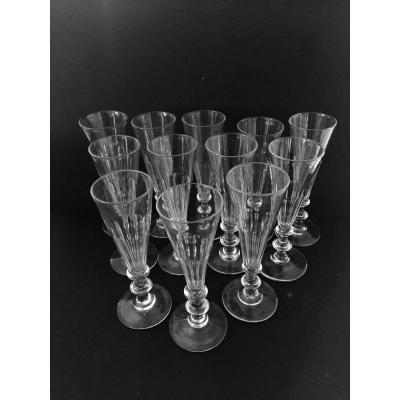 12 Crystal Champagne Flutes Circa 1840