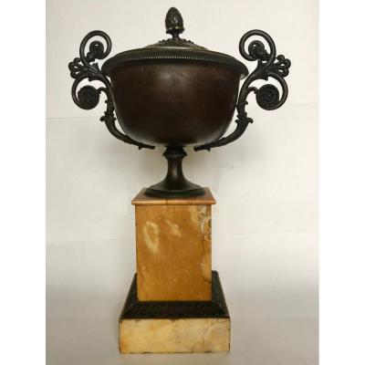 Cassolette En Bronze Et Marbre époque Charles X