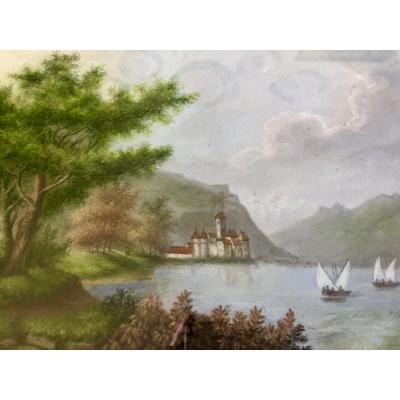 Pastel Représentant Le Château De Chillon En Suisse Par P.pignolet (1838-1913)