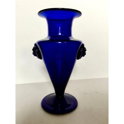 Vase En Verre Soufflé Bleu De Cobalt Bordeaux 18ème Siècle