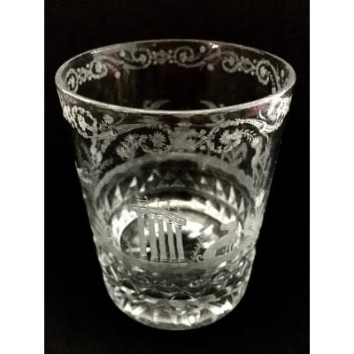Engraved Glass Goblet Early 19th Century