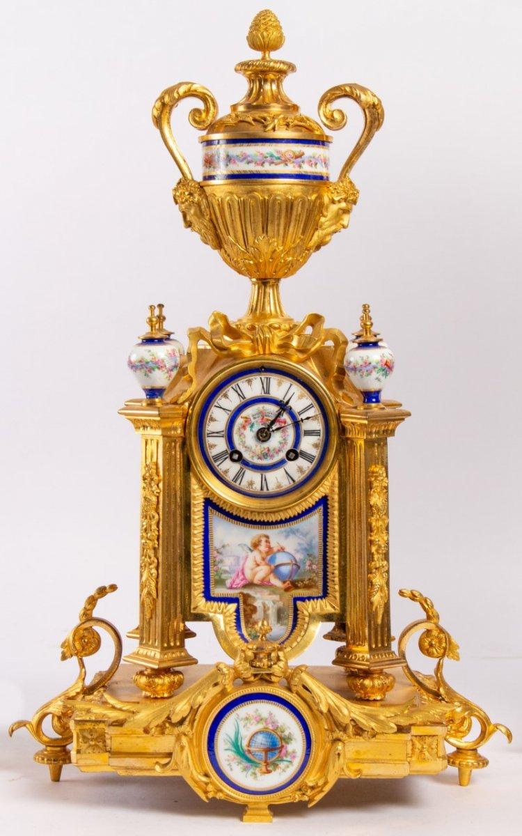 Garniture De Cheminée En Bronze Doré Et Plaques En Porcelaine, Fin XIXème-photo-2