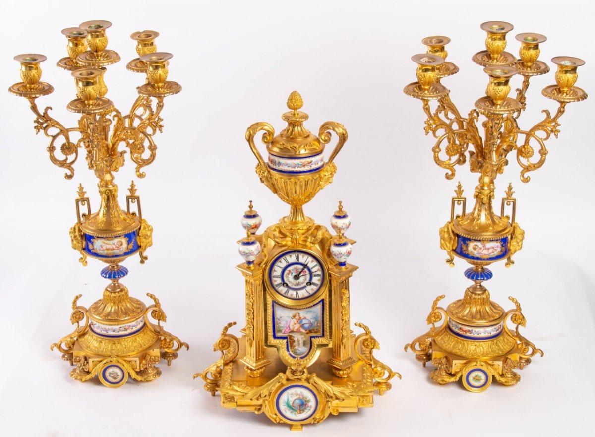 Garniture De Cheminée En Bronze Doré Et Plaques En Porcelaine, Fin XIXème-photo-3
