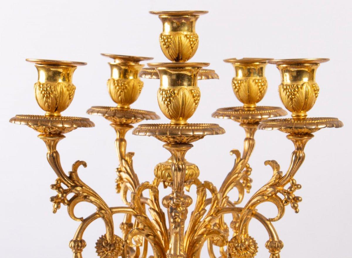 Garniture De Cheminée En Bronze Doré Et Plaques En Porcelaine, Fin XIXème-photo-1