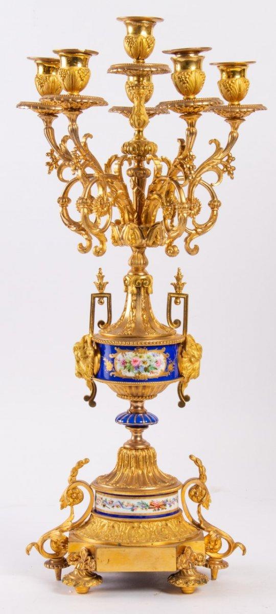 Garniture De Cheminée En Bronze Doré Et Plaques En Porcelaine, Fin XIXème-photo-6