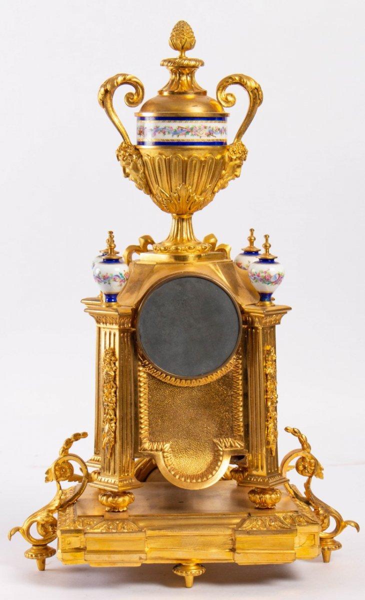 Garniture De Cheminée En Bronze Doré Et Plaques En Porcelaine, Fin XIXème-photo-7