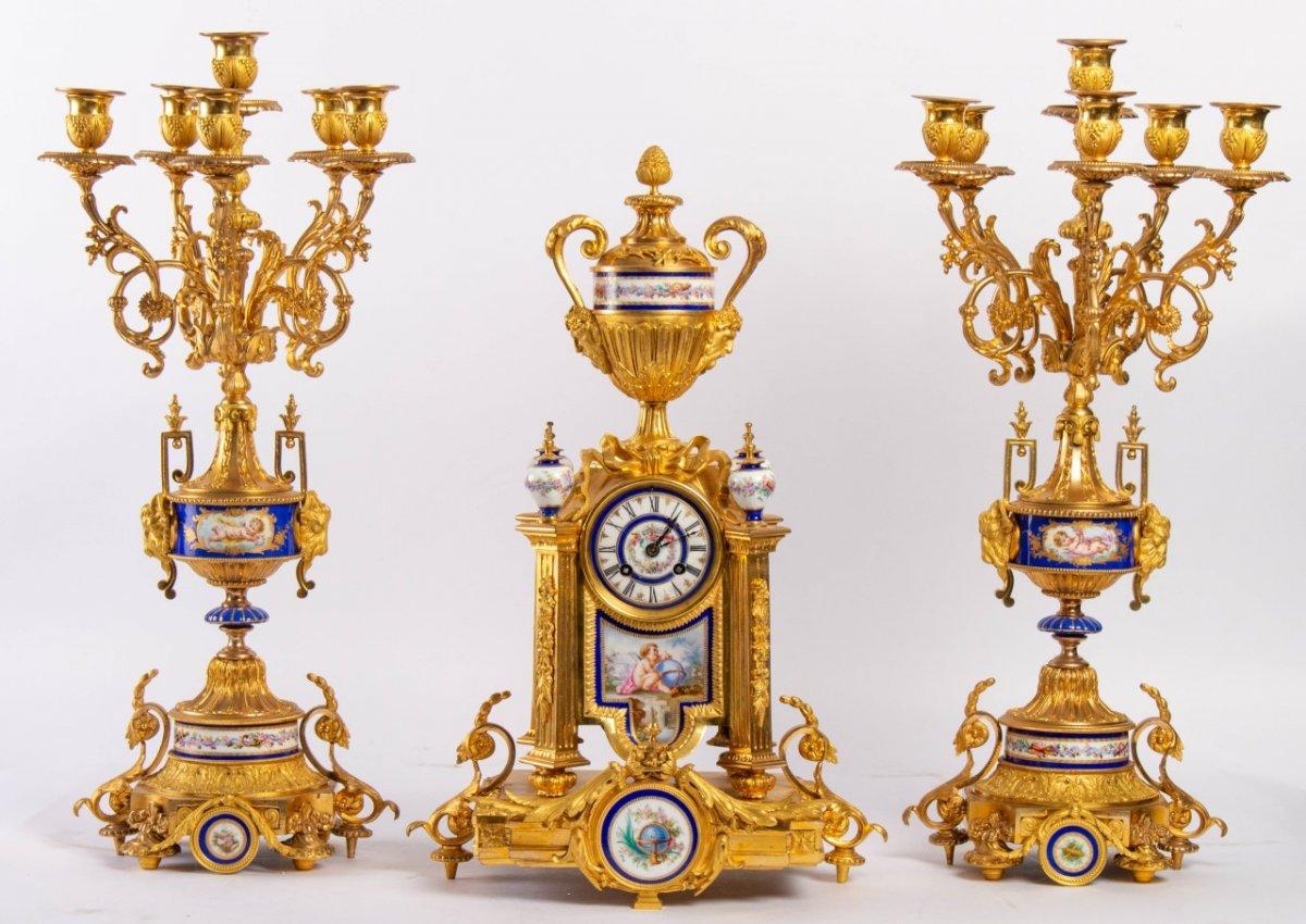 Garniture De Cheminée En Bronze Doré Et Plaques En Porcelaine, Fin XIXème