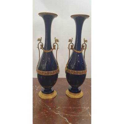 Paire De Vases Bleus