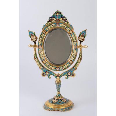 Miroir En Bronze Doré Et Cloisonné