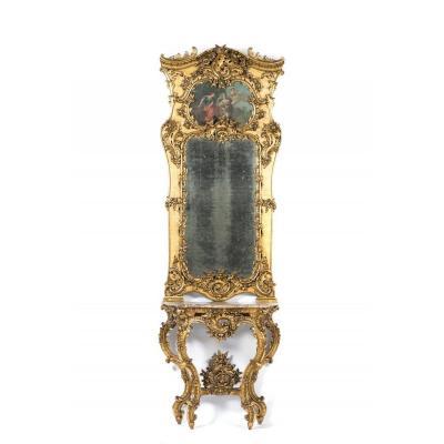 Exceptionnels Consol Et Son Miroir En Bois Sculpté Et Doré d'Origine Style Louis XV, Fin XIXème