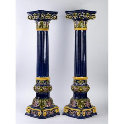 Pair Of Polychromed  Blue Earthenware Columns End XIX