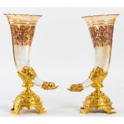 Magnificent Pair Of Crystal Cornet Vases And Golden Frame, XIX