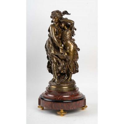 Très Belle Statue Deux Jeunes Filles En Bronze Signé Moreau, XIXème
