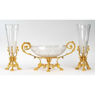 Trim That Includes A Cup And Two Cones Crystal Cut Gold Bronze Frame XIX-th