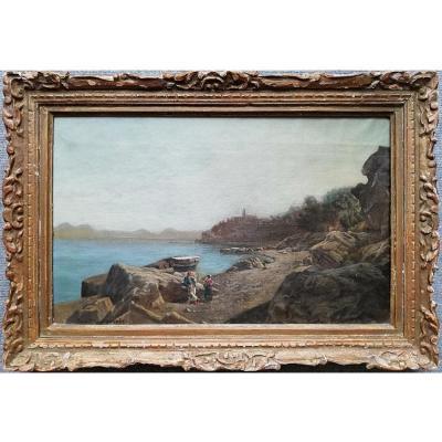 Julius O.  de MONTALANT (1823-1898) Baie de Naples - huile sur toile - signée