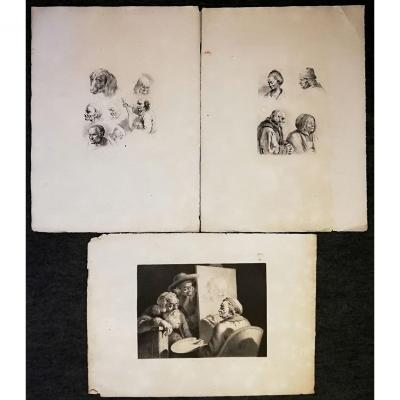 Jean-jacques De Boissieu (1736-1810) 3 Estampes dont  Le Peintre Et Son Modèle 1789