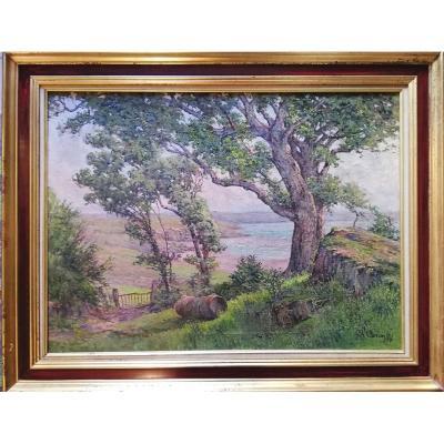 Charles Corcuff (1872-1953) Soir d'été Dans La Baie De Douarnenez Huile Sur Toile