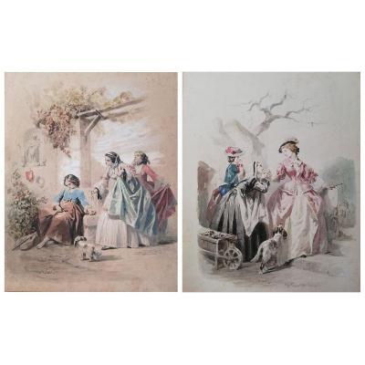 François Claudius COMPTE-CALIX (1813-1880) - Les Parisiennes - Paire d'Aquarelles