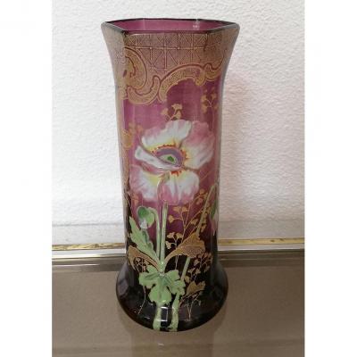 Vase Legras En Verre émaillé Violet à Décor De Fleur De Pavot Vers 1900