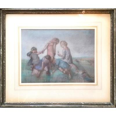 Charles Emmanuel Serret (1824-1900) Jeux d'Enfants Pastel