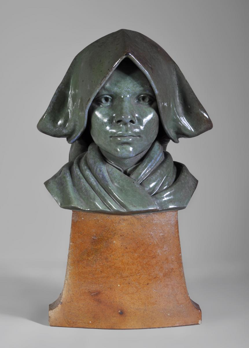 "Bust Of Girl In Stoneware, Signed ""e. Paul 1911"""