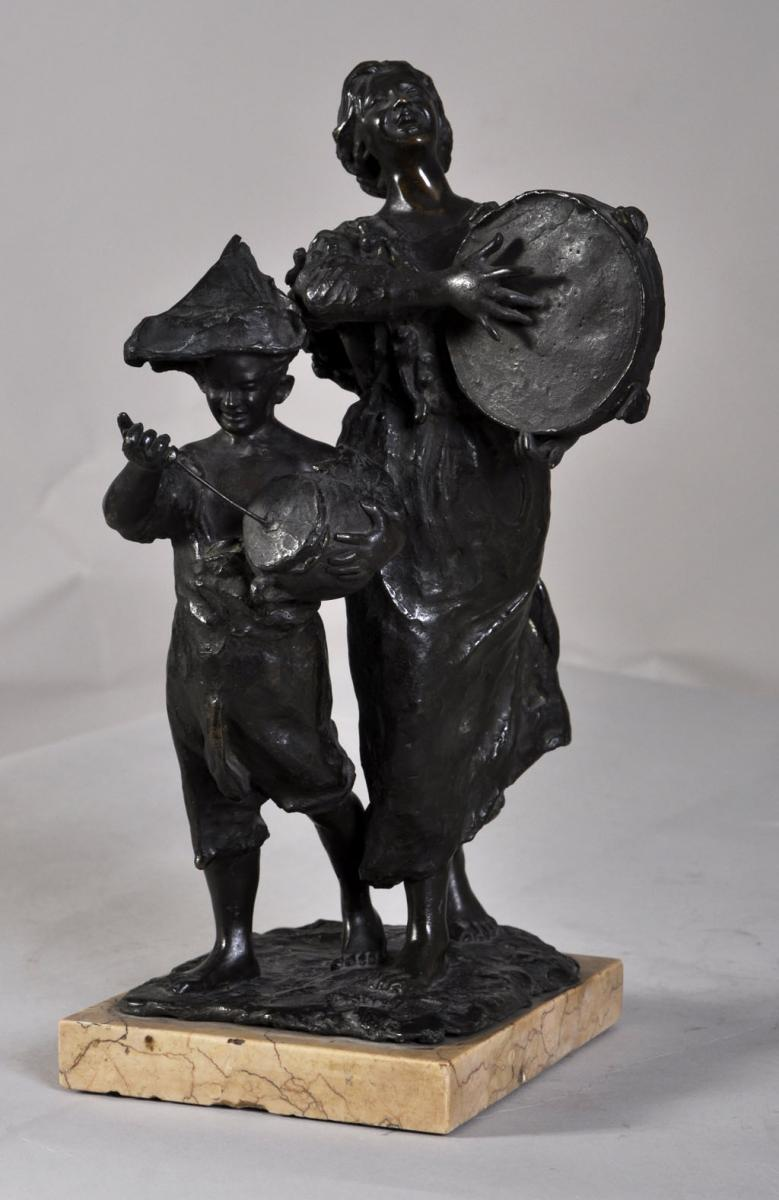 """street Musicians"" Bronze Sculpture With Brown Patina"
