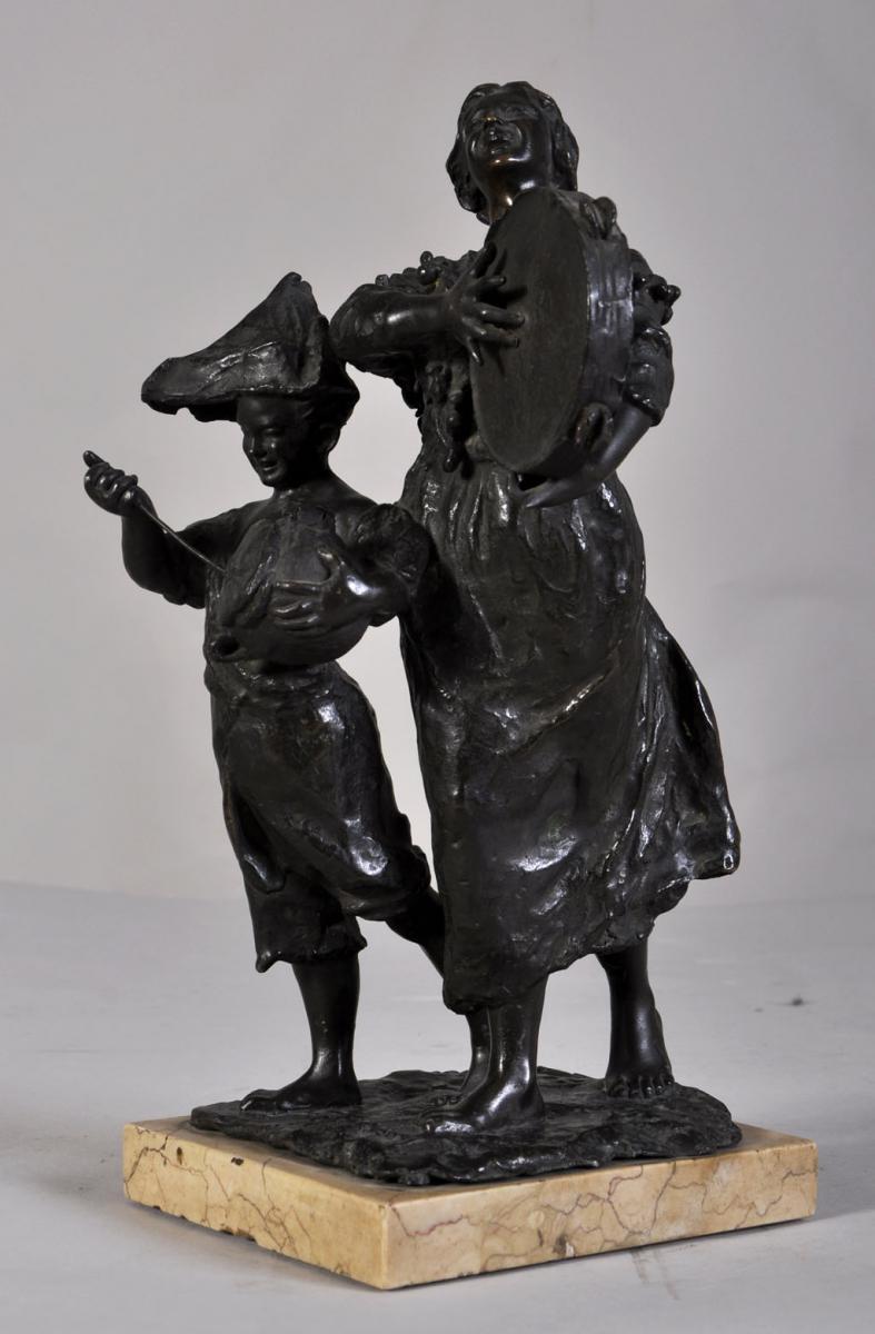 """street Musicians"" Bronze Sculpture With Brown Patina-photo-2"