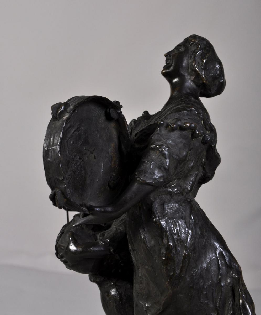 """street Musicians"" Bronze Sculpture With Brown Patina-photo-4"
