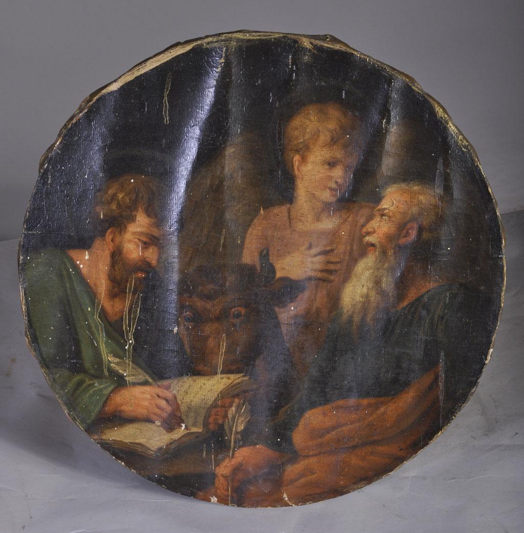saint matthieu et saint luc tondo huile sur toile tableaux religieux. Black Bedroom Furniture Sets. Home Design Ideas