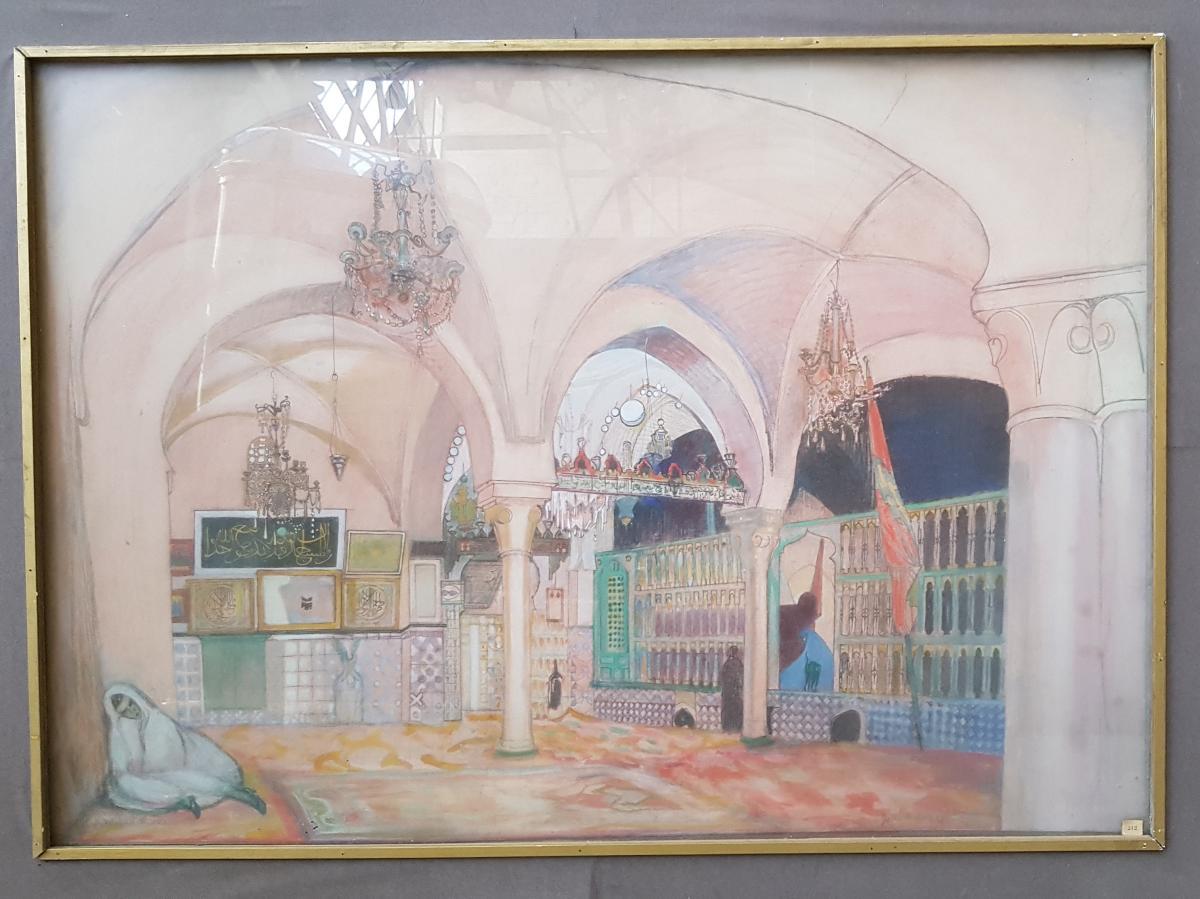 Watercolor, Interior Of Mosque, Julien Le Bordays