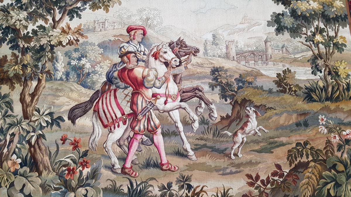 Tapisserie d'Aubusson, scène de chasse, vers 1900