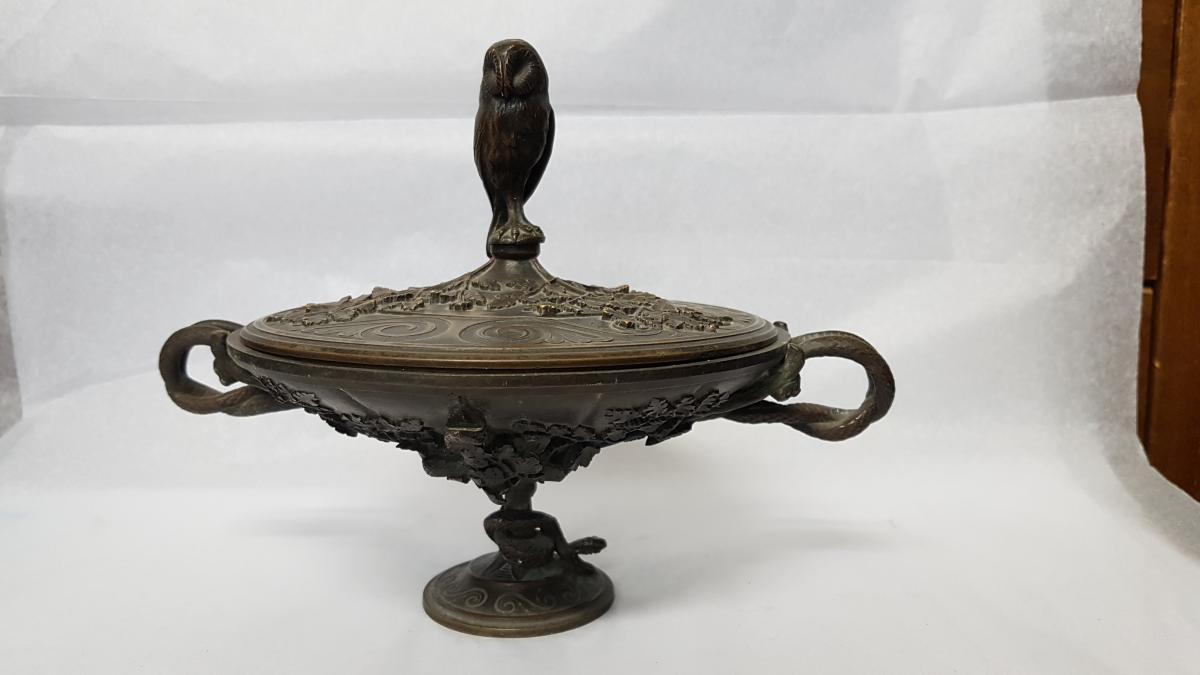 Coupe couverte En Bronze Au Hibou