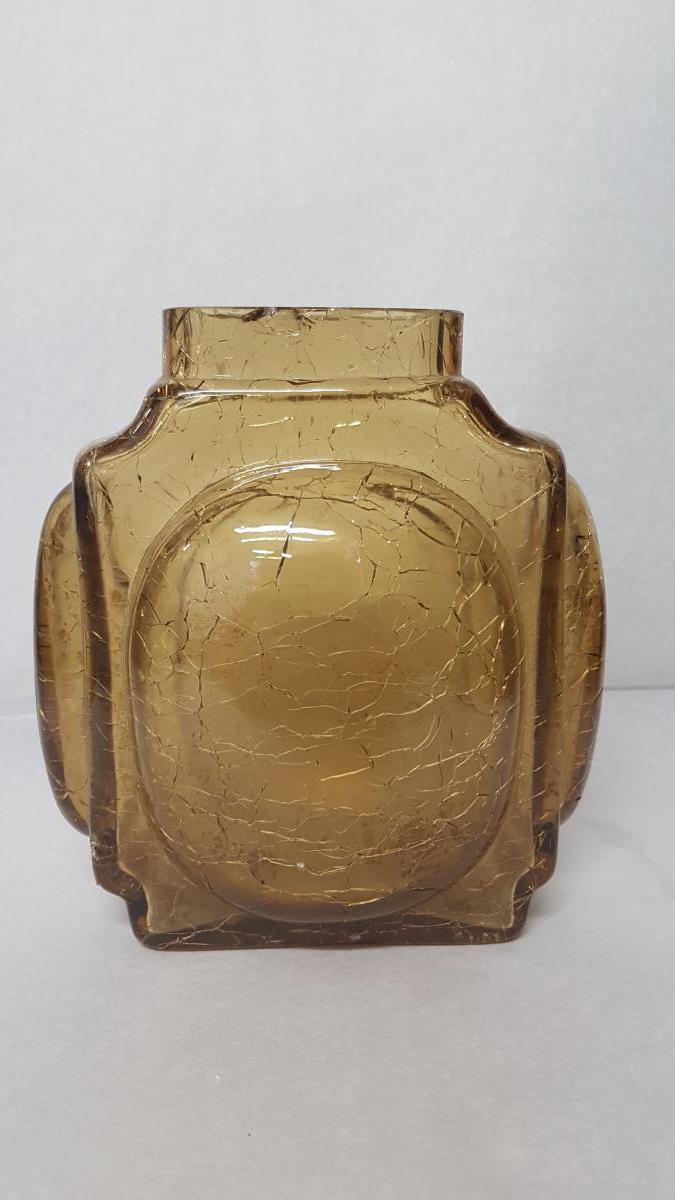 Vase En Verre Jaune à Fond Craquelé Craquelé