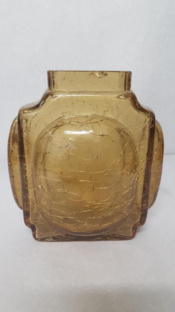 Yellow Glass Vase With Cracked Cracked Bottom-photo-4
