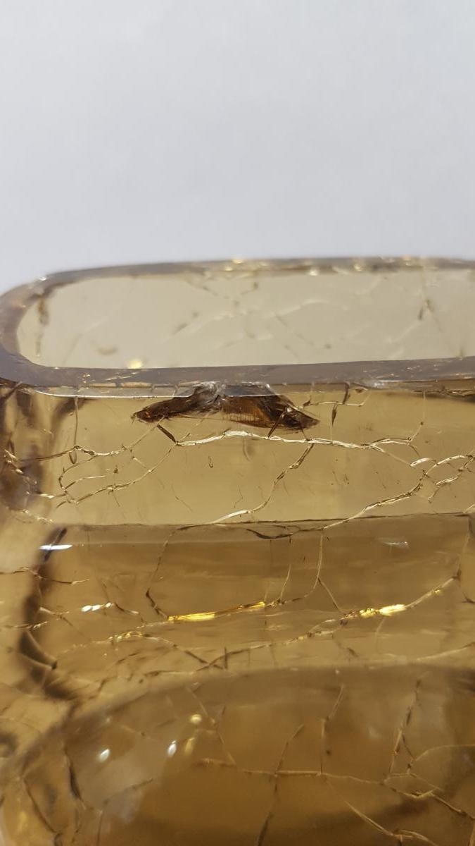 Yellow Glass Vase With Cracked Cracked Bottom-photo-2