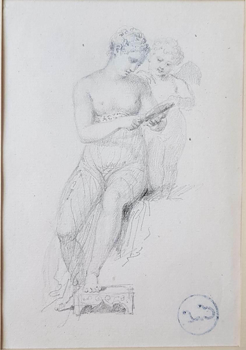 Dessin Au Crayon Représentant Une Mère Et Son Enfant, Cachet Collection Au Dos