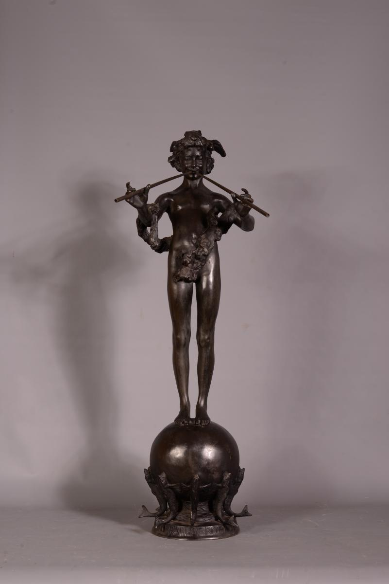 Pan of Rohallion, Bronze à Patine Brune Signé Frederick William Macmonnies (1863-1937)