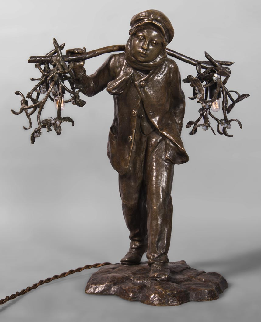 Antoine Bofill (active 1894-1939) Bearer Mist, Bronze Patina Brown Forming A Lamp
