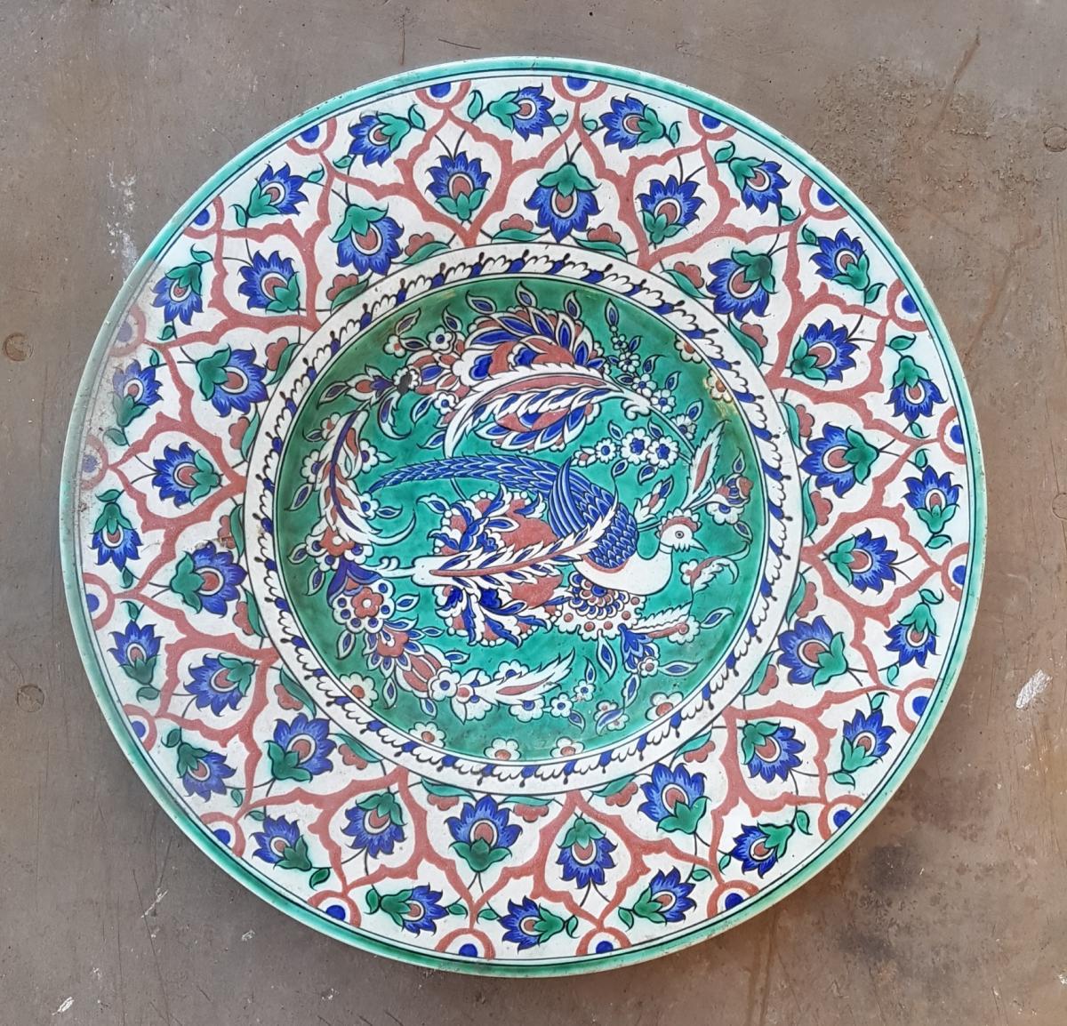 Large Circular Dish In Earthenware Iznik Blue Signed Bfk- Boch Freres Keramis