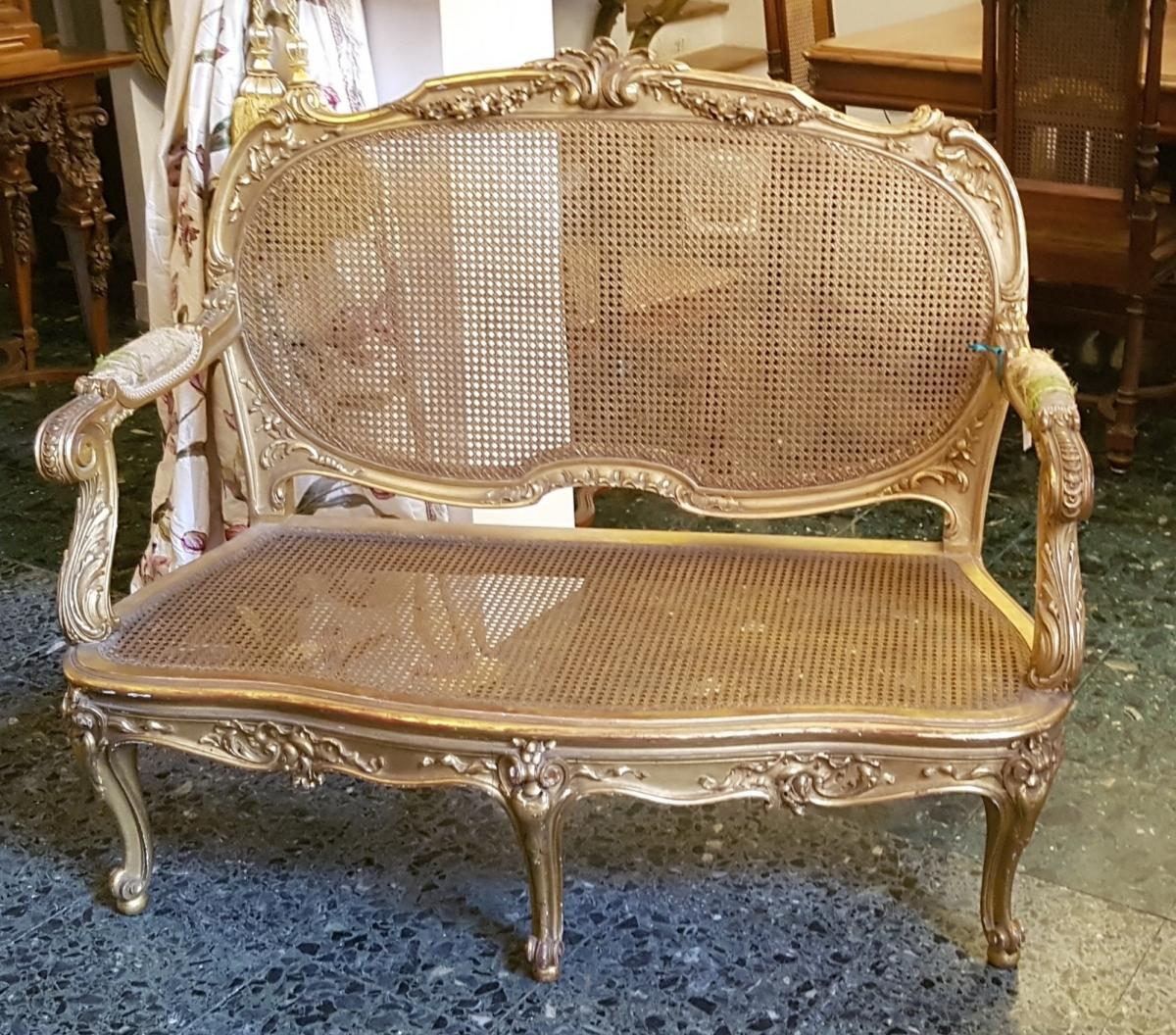 Bench Style Louis XV Cannate Wood Scupted And Gilded